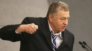 Vladimir Zhirinovsky, leader of the Liberal Democratic Party addresses the parliament during a session in Moscow on Friday, Nov. 14, 2008. The lower house of parliament, State Duma, voted 388-58 to pass constitutional changes that will extend the presidential term from four to six years, in the first of three readings. Firebrand ultranationalist Vladimir Zhirinovsky defended the measure during nearly two hours of debate, but suggested that the Duma was just mindlessly rubber-stamping the Kremlin's legislation. (AP Photo/Mikhail Metzel) / SCANPIX Code: 436